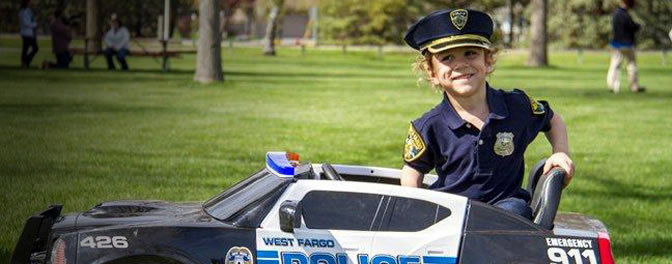Boy in a police outfit
